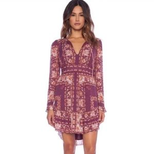 Free People burgundy floral print boho dress sz M